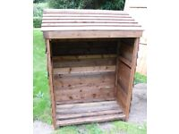 "Wooden Log Store Overlap Cladding Timber Framing 5' x 42"" x 24.5"" Collect Only"