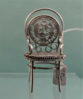Antique Coin Silver Miniature Dolls House Chair 7.5 cm h 2 Peruvian Coins