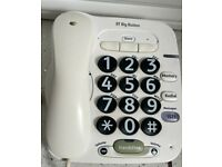 2 BRITISH TELECOM BIG BUTTON CORDED TELEPHONES LITTLE USED, BARGAIN ONLY £6 EACH CAN DELIVER