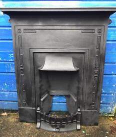 ART DECO 1920-30s cast iron fireplace recently refurbished in matt black high temperature paint