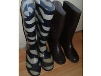2 pairs of Ladies Wellies/Wellington boots for sale.
