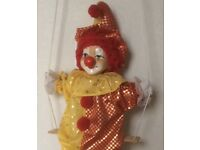 Reduced: Mrionette puppet Clown on swing, red and gold in colour