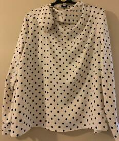 Warehouse Cream black blouse size 16