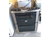 6 MONTHS WARRANTY Stainless Steel Zanussi AA energy rated, double oven electric cooker FREE DELIVERY