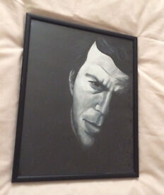 Tom Waits. Small unsigned * Original Painting! * black & white framed portrait