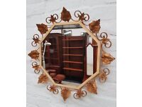 Vintage Decorative Metal Framed Mirror (DELIVERY AVAILABLE)