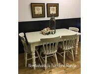 STUNNING 5FT NEW HANDMADE PINE FARMHOUSE TABLE BENCH AND CHAIRS