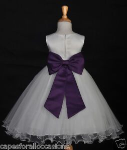 IVORY-PURPLE-PLUM-PAGEANT-FORMAL-OCCASIONS-FLOWER-GIRL-DRESS-12M-18M-2-4-6-8-10