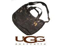 Authentic UGG 100% real Leather Black Cross body Messenger & original dust bag