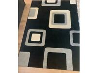 Large Black Rug With Cream And Grey Squares