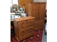 Wooden wardrobe and drawer set
