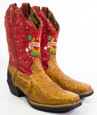 Women's Tony Lama Brown/Red Lucky Star Boot's Size 6 1/2 B Style ST001 Tony Lama Stars