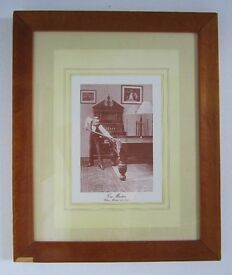 Pair antique billiard prints in maple frames