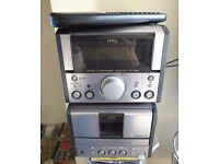 JVC Micro Stereo System with small white speakers