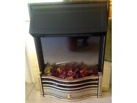 DIMPLEX BRASS EFFECT ELECTRIC FIRE-VGC-Red glowing Stones.