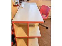 Sturdy Pink & White Study Desk with pink chair - plenty of storage