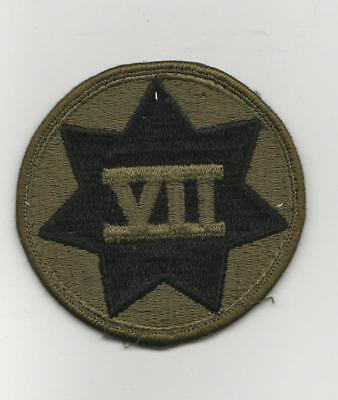 US Army VII 7th Corps Military BDU Uniform Shoulder Patch WW2 Green On Black