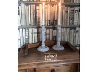 Pair of wooden barley twist candlesticks