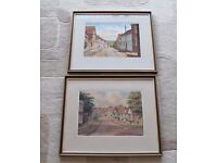 Two Original 1950's Watercolours by Jack Savage. Views of Lavenham in Suffolk