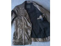 New All Saints CONROY Brown Leather Biker Jacket - Small