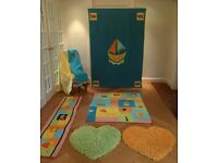 Nursery soft furnishings set - cot bed duvet & bumper pad, roman blind, decorative rugs and blankets