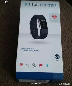 Fitbit Charge 2 Excellent Condition Black Large extra strap clean Smoke free only used 5 times