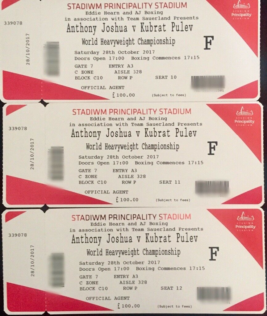 3x Anthony Joshua vs Pulev Face Value Floor Tickets