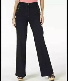 Jeans For ladies size 12 uk dark indigo Wide-leg @sk30