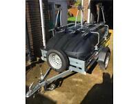 Brenderup 1205s with ABS hard top, 4 bike Thule bike rack, jockey wheel and spare