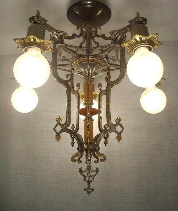 1928 Ornate Tudor Halcolite Brass & Bakelite Chandelier RESTORED Ceiling Light