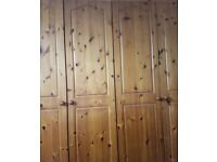 2 PINE DOUBLE WARDROBES AND MATCHING DRAWERS
