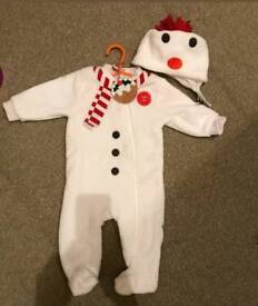 Baby Christmas snowman outfit new with tags