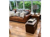 Beautiful Tan Vintage Saddle Leather Three Seater Sofa