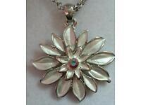 Silver coloured, flower pendant, long necklace