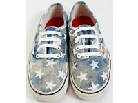 Women's Size 5 Denim and White Star Print Vans Trainers