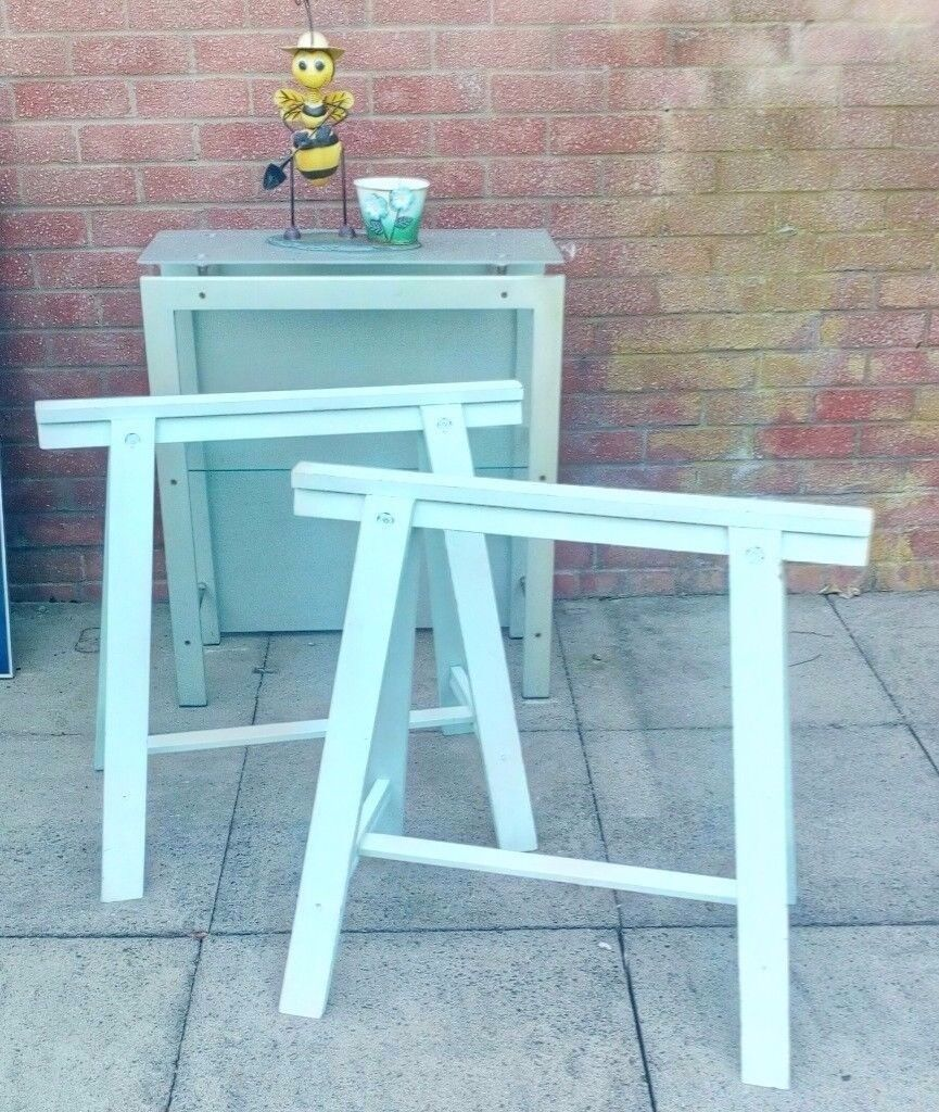 TWO WOODEN TRESTLES & METAL UNIT with GLASS SHELVES | in Runcorn ...