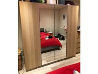 2 x Ikea Double Wardrobe PAX - White Stained Oak with Glass Door