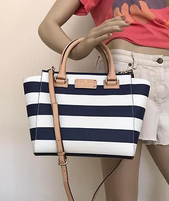 NWT Kate Spade Small Wellesley Navy White Stripe Leather Bag