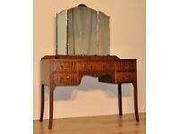 Attractive Neatly Sized Vintage Mahogany Dressing Table With Triple Mirrors
