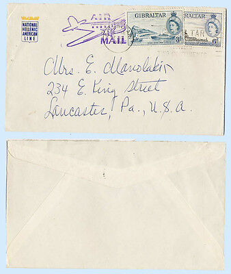Gibraltar 1958 Airmail Cover Hellenic Line to Pennsylvania #137 140