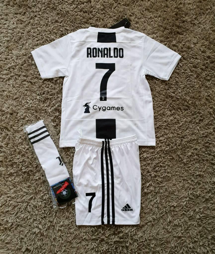 6864af483 2019 JUVENTUS football kit RONALDO 4-13 years kids adidas shorts shirt