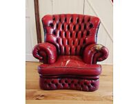 Red Leather Chesterfield Armchair Chair