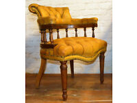 Chesterfield yellow captains smokers bow armchair desk vintage chairs leather antique seating lounge