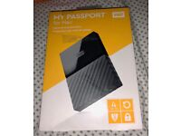 WD 4TB MY PASSPORT PORTABLE HD MAC, BRAND NEW, AUTO BACKUP PASSWORD PROTECTION