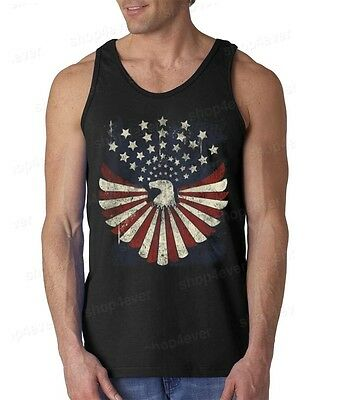 Eagle Flag Stars Distressed Men's Tank Top American Patriotism Tank (American Flag Tank)