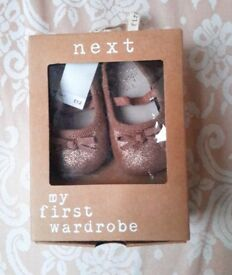 Brand New Baby Girl's Gold Bronze Ballet Style Shoes by Next