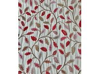 DUNELM Cream Floral Embroidered Multicoloured Leaf Tapestry Curtains 193 x 137cm