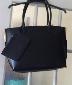 Ladies Large Black Tote Bag with attached wallet By Red Herring @Debenhams RRP£26