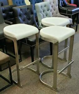 3 - Brush Stainless Steel Finish Backless Barstool with White Seat on CLEARANCE