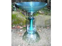 Aqua Glass bird bath made from upcycled charity shop glass - beautiful, unique, individual.